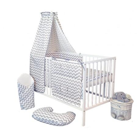 15 el. łóżeczko KLASYCZNE białe + materac + pościel + rożek