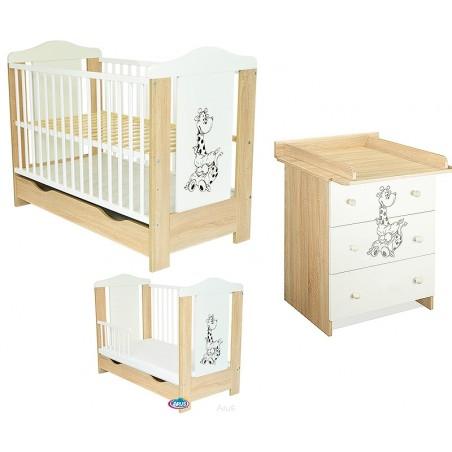 Pati sonoma biały ŻYRAFKA zestaw : łóżeczko z szufladą + komoda z przewijakiem
