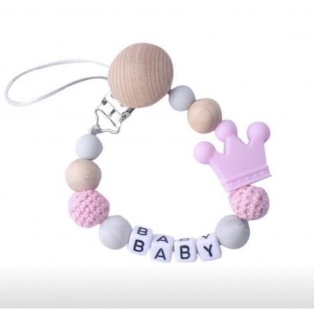 Zawieszka / łańcuszek do smoczka Royal Baby różowa