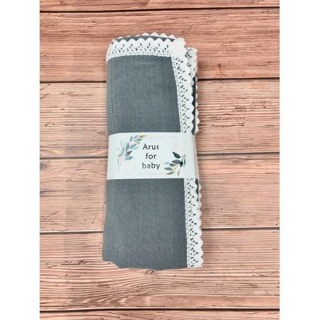 Kocyk Muślinowy 100x75 lace grey
